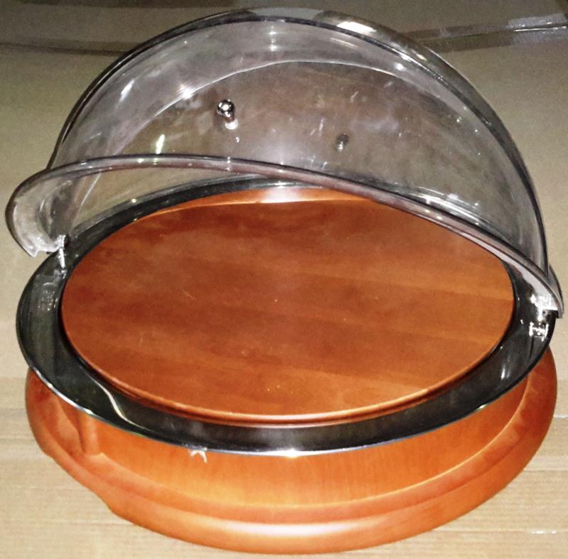 Поднос для сыра d49хh34см, с пласт. крышкой Roll-top с дерев. доской