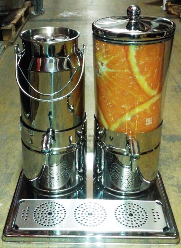 Диспенсер для сока 5л и молока 6л двойной 42х35см h52см, нерж.сталь